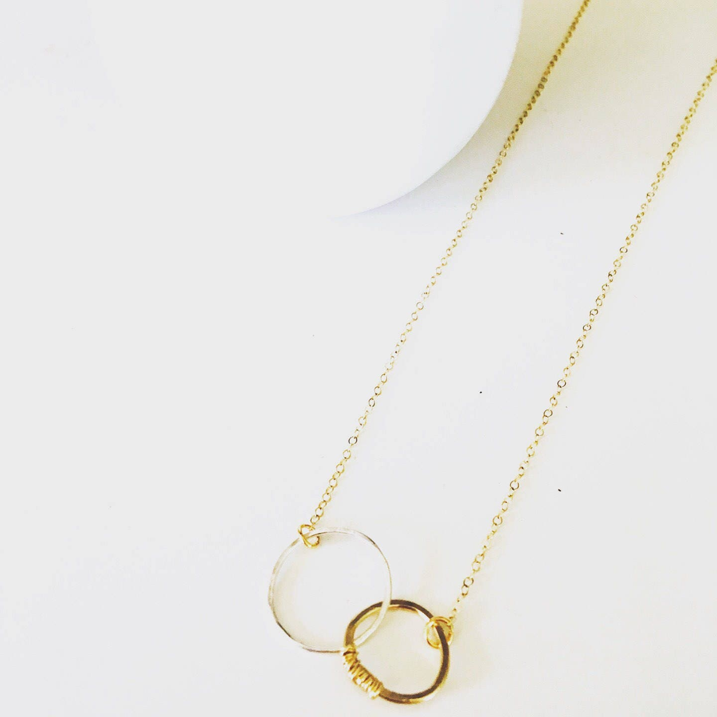 The Laney Necklace// hammered gold fill necklace// hammered sterling necklace// circle charm necklace// hammered circle jewelry// gold fill/