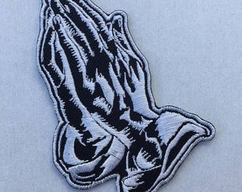 Praying Hands Symbol Embroidered Iron On / Sew On Patch Crest Emblem