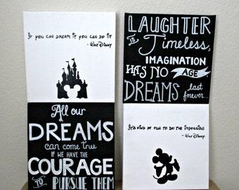 Disney Set Handpainted Quote Canvas