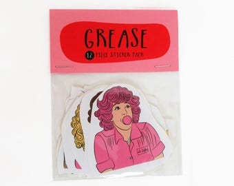 GREASE 12 pc sticker set, Grease movie, Grease sticker pack, Grease sticker set, Grease Pink Ladies, Grease T Birds, Grease Sandy, fun gift