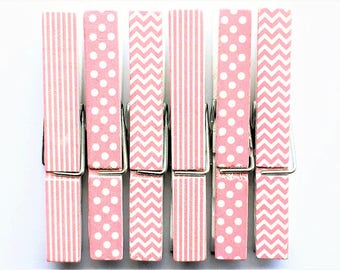 Pink + White Clothespin Magnets | Set of 6 | Super Strong | Polka Dot Magnets | Chevron Magnets | Striped Magnets | Fridge Magnets