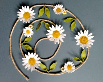 Daisy Felt Flower Garland ~ 100% Wool Felt Die Cut White Daisies on Jute Rope
