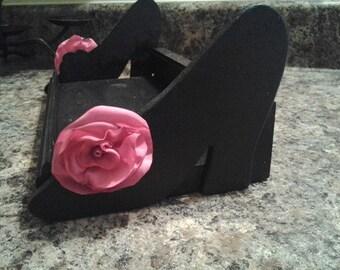 Boutique Shoe organizer high heels vanity tray hold nail polish, make up holder organizer craft show display black pump heels accessories