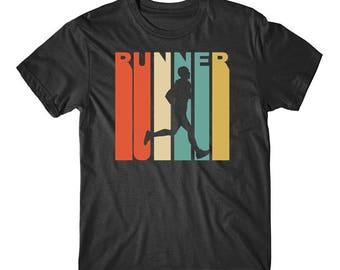 Vintage Retro 1970's Style Runner Silhouette Running T-Shirt