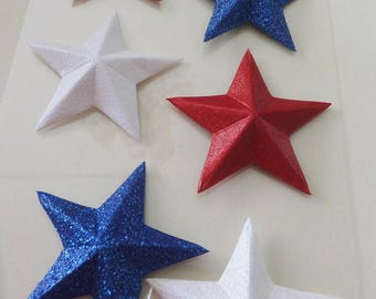 "Patriotic 2"" STAR Embellishments ~ Memorial Day / July 4th Crafts ~ Set of 6 ~ 3-D stars ~ Red White & Blue Glitter"