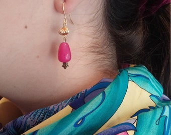 Silver plated gold and pink jade earrings