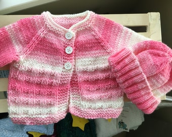 Baby Sweater & Hat - Pink / White Variegated Yarn