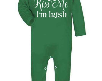 Kiss me, I'm Irish Baby Onesie Romper Vest Baby Clothes St. Patricks day Ireland Baby Shower Gifts New baby gifts First St. Paddys