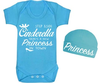 Step Aside Cinderella Disney Princess Inspired Baby Vest and Hat Set Onesie Romper suit Baby Clothes Novelty Baby shower Princess baby top