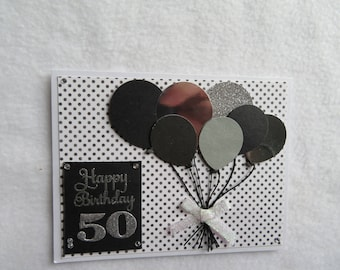 50th Birthday - blank and white