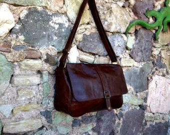 Brown Leather Laptop Briefcase Bag