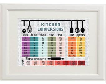 Kitchen Cross Stitch Pattern, Measurement Conversion Chart, PDF Download, Large Cross Stitch, Baking Cross Stitch, Embroidery Pattern