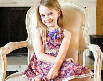Handmade  HALLE-NOR easy wear little Girl beautiful spring/Summer dress size ,3t,4t,5t