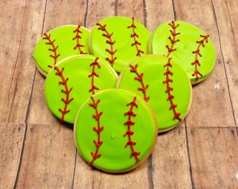 Softball Cookies One Dozen - Softball Cookies - Softball Party Favors - Softball - Decorated Cookies - Sugar Cookies - Cookie Favors