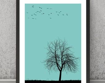 Tree print, Tree poster Tree art, Tree wall decor Landscape print Landscape poster Landscape wall art Minimalist print Minimalist poste