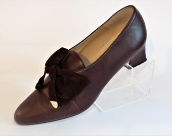 Roberto Vianni Brown Leather Court Pumps Shoes with Brown Suede Gold Tip Bow/Size UK 5/Retro Shoes/1980's