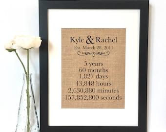 5 Year Anniversary Gift Burlap Print // Personalized Gift // Custom // Anniversary Gift // Rustic Home Decor