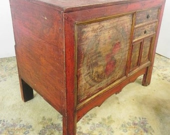 Hand Painted Old Farm Console, Asian Furniture, Asian Console, Asian Cabinet, Asian Decor, Hand Painted Motif, Imported Furniture