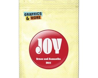 Christmas Joy Red 2.25 Inch Diameter Personalized Custom Kitchen Refrigerator Locker Button Magnet