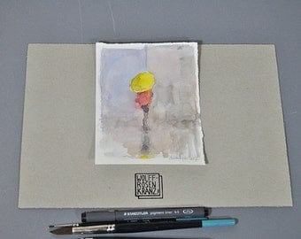 Umbrella, yellow! Illustration, drawing, watercolor, original by Marc M.J.. Wolff Rosary, 12 x 16 cm