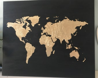 Black & Gold Map of the World