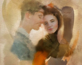 Valentine's Day, Digital ART, Custom Portrait, Painting From Photo, Art for sale, Digital Painting, Custom portraits, Love Story