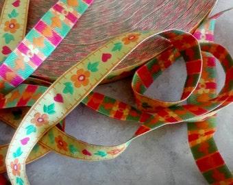 3/4 width, Embroidered spring color FLOWERS ribbon lace trim, multi color ribbon, silk trim, green orange yellow trim, girls print, hem trim