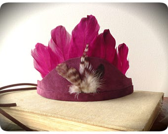 Baby Girl Feather Crown , Feather Headdress , newborn crown, Tribal Birthday , 1st Birthday  , Baby crown , Baby Prop ,  Cake Smash