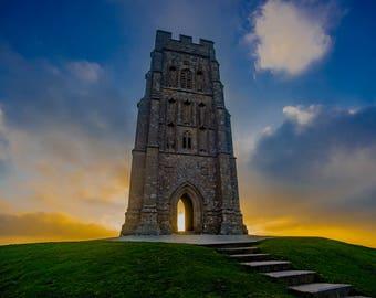 Sunrise behind St Michael's Tower, Glastonbury Tor, UK