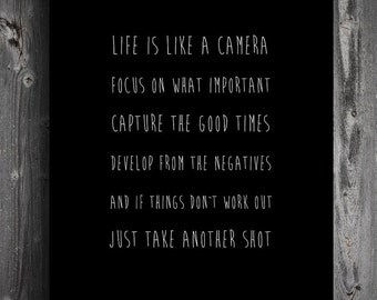 "Poster ""life is like a camera"" A3 print Matt"