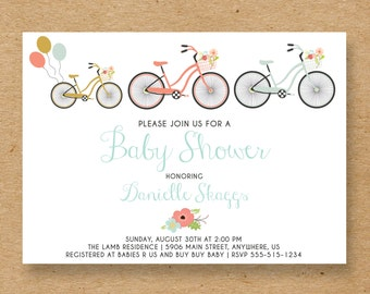 Gender Neutral Bicycle Baby Shower Invite