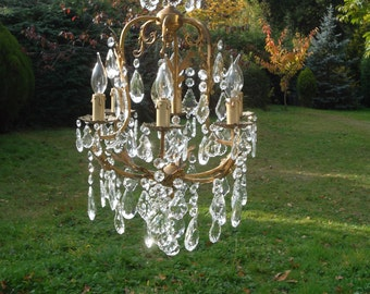 Very unusual vintage French 6arm bronze cage Chandelier (66)