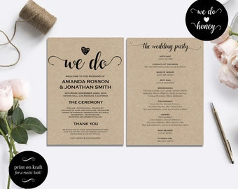 Wedding program template rustic   DIY Printable Program Wedding Template   Rustic Wedding Template   Wedding fan program PDF #WDH101_18