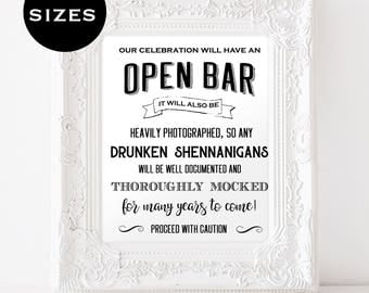 Open Bar Wedding Sign - Funny Wedding Sign - Reception Bar Sign - Printable Sign - Shenanigan Sign - Downloadable wedding #WDH8121098