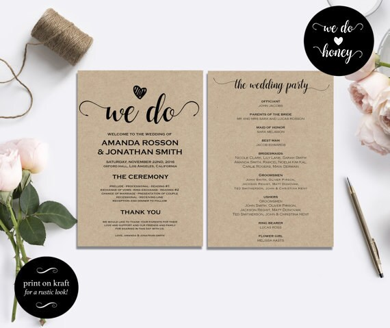 Wedding program template rustic | DIY Printable Program Wedding Template | Rustic Wedding Template | Wedding fan program PDF #WDHOO11