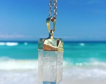Raw Quartz Crystal Necklace dipped in 24k Gold