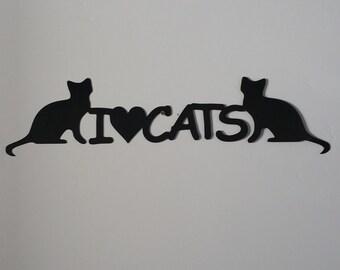 I love cats metal art, cats metal art, animal metal art, cats wall hanging, cats home decor, cat home decor, cat lover art