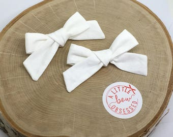 White Cotton Schoolgirl Hair Bow, Single Bow or Pigtail Set, Girls Hair Bows, Solid Hair Bow