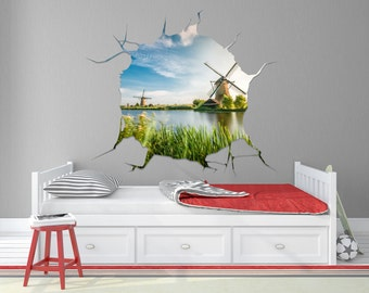 Windmill Removable Wall Mural / Windmill Decorations / Windmill Wall Mural / Windmill Wall Stickers / Dutch Decorations- TOUWD10054