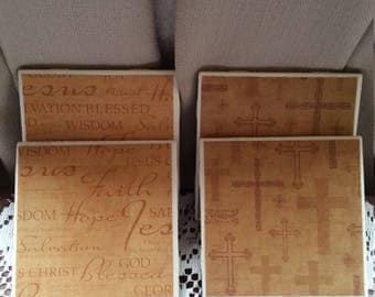 Faith and Cross Tile Coasters