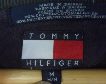 Sale!! 90's TOMMY HILFIGER//Sweatshirt/ Big Spell Out// Army Green Color//Size M//Made in Saipan USA//Hip Hop Swag Style