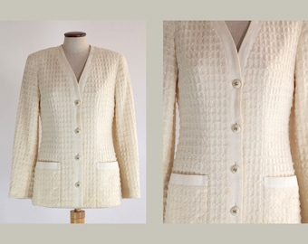 SOLD OUT ~  Vintage Chanel Ivory Wool Boucle Jacket Size 36