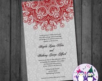 Grey Damask Wedding Invitation, Digital Wedding Invitation