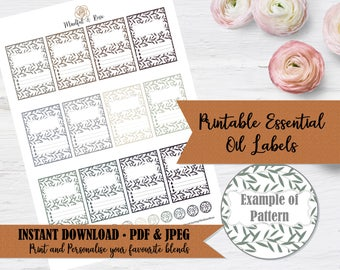 Printable Essential Oil Labels - 10ml Rollerball Labels Leaf Pattern in Neutral Colors