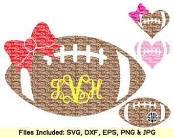 Football monogram SVG files for Silhouette Cricut cheer mom heart sister bow svg birthday baby shower shirt vinyl decal designs Dxf cut file