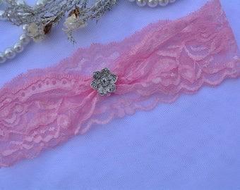 Garter Pink, Lace Garter Set, Stretch Lace Garter, Wedding Garter Set, Crystal Garters, Pink Lace Garter, Wedding Garter Pink, Garter Set