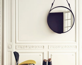 Leather artisanal mirror, hand made mirror, from morocco