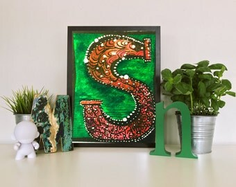 """Letter/Initial """"S"""" 8x10 PRINTABLE Hand-Drawn Home decor"""