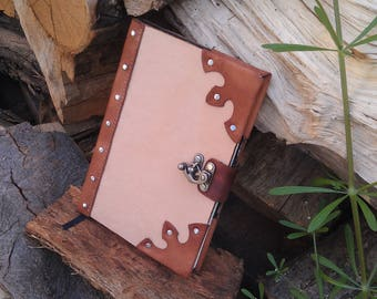 Notebook leather cover customizable / medieval fantasy LARP diary