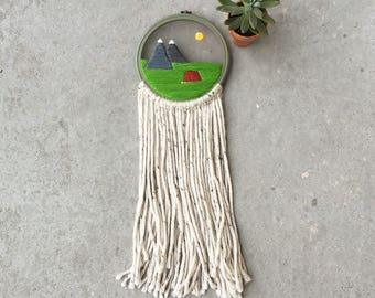 Camping Dream Catcher Embroidery Hoop Art